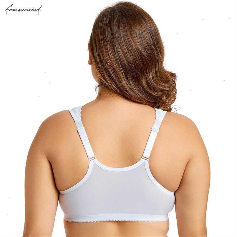 New Fashion Womens Front Closure Full Figure Wirefree Racerback Full Cup Lace Plus Size Bra Drop Shipping Good Quality