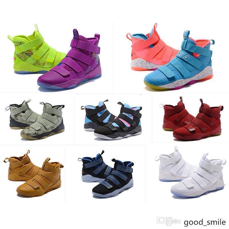 O que os Lebron soldado sapatos 11 homens de basquete para venda de Natal BHM Oreo juventude caçoa botas Generation com caixa original Tamanho 7 12