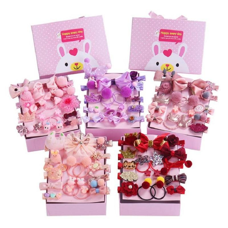 18 pc / box dei capelli del bambino della clip di fiore Cute Cartoon Glitter Crown Princess Barrette Headwear regalo Ribbon Bow Forcine Per Ragazze