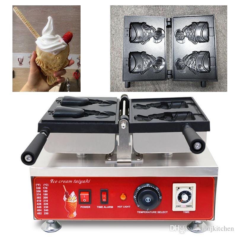 Açık ağız dondurma balık gözleme koni makinesi 110 v 220 v taiyaki koni makinesi koni waffle ekipmanları fırıncı demir fırın tava