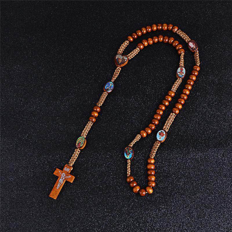 2020 나무 비즈 코드 묵주 목걸이 세인트 메달 예수님을 십자가 펜던트 목걸이 패션 종교 보석 R-017