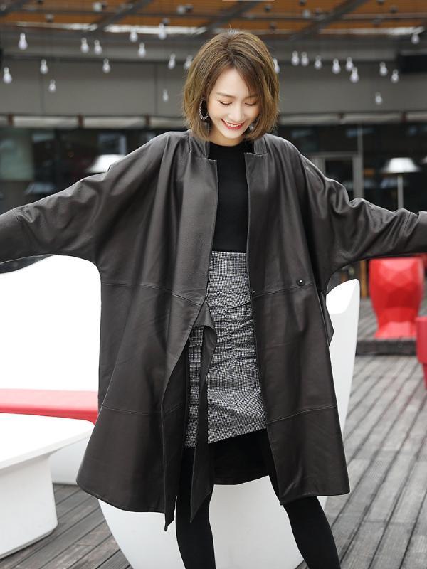 Lautaro nero donne del rivestimento in pelle di grandi dimensioni manica pipistrello casual morbido cappotto avvolgente si slaccia più le donne streetwear ecopelle