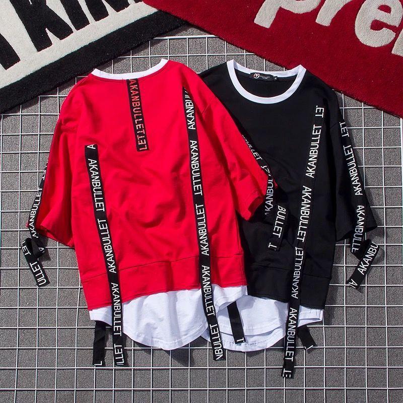 2020 летняя футболка с короткими рукавами мужская круглая шея корейский стиль поддельные двухсекционный хип-хоп печати пятиточечный рукав Половина рукава