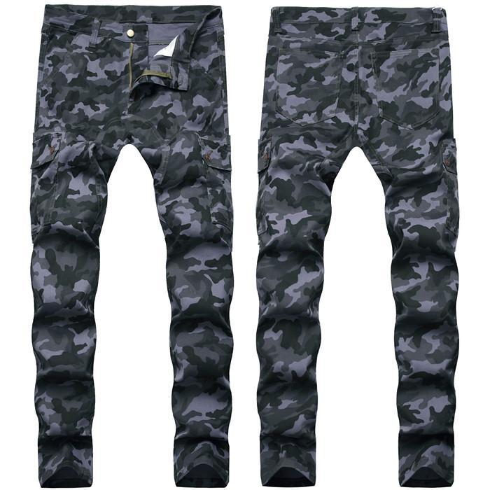 Jeans masculinos macacão macacão camuflagem estiramento magro encaixe longo denim azul hip hop calças lápis para macho