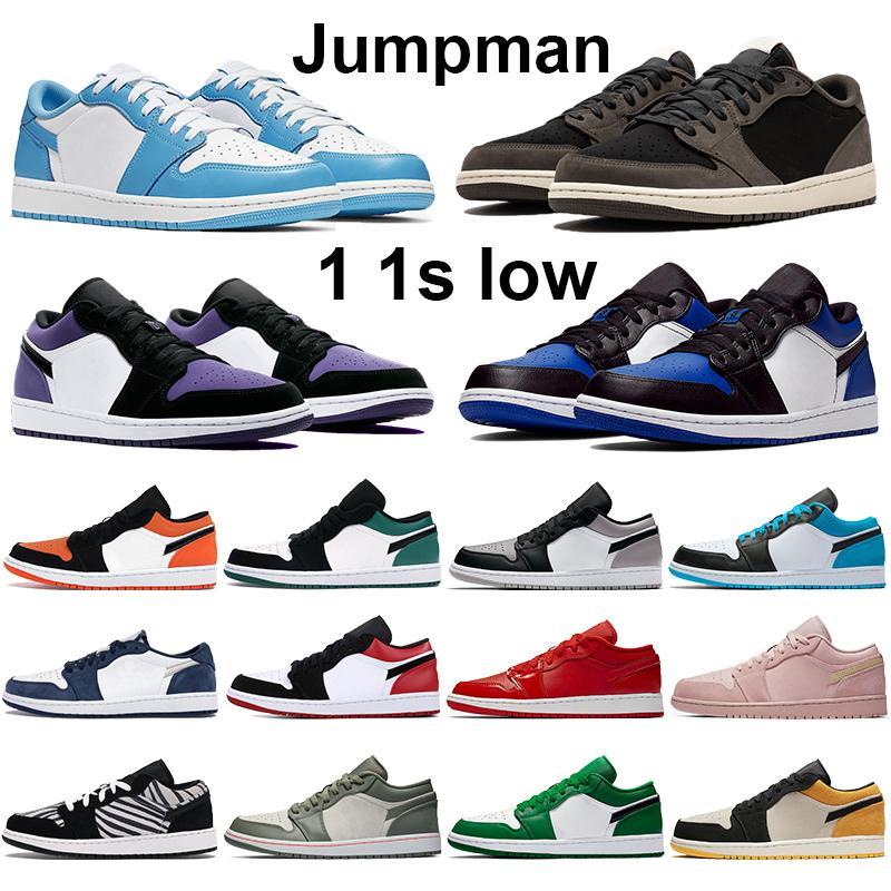 أحذية جديدة لكرة السلة 1 1S منخفضة UNC كونكورد الأسود اسمنت فرط أسود ملكي تو ترافيس سكوتس TOP 3 نوبل رجل الأحمر المدربين أحذية رياضية