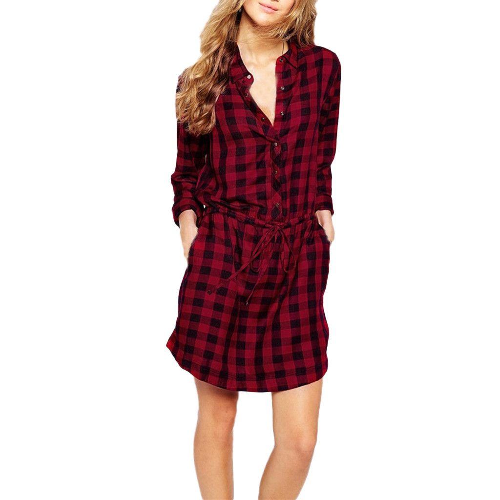 2019 hohe qualität frauen red plaid langarm umlegekragen hemd dress mit gürtel heißer verkauf 26 #