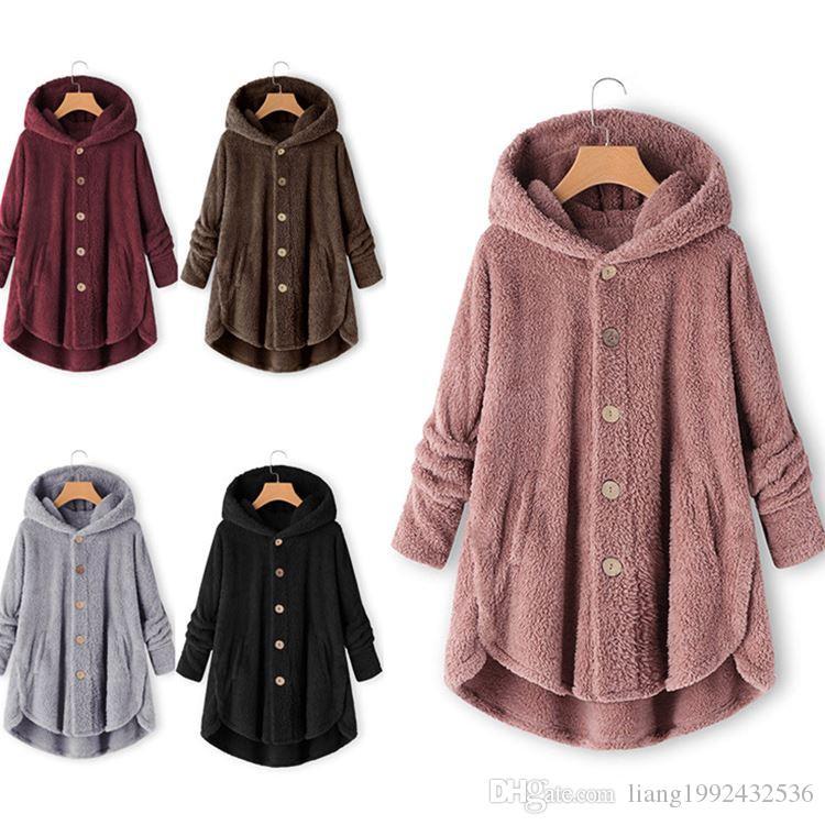 الجملة الخريف والشتاء ملابس النساء زر قميص مزدوج الوجه المخملية غير النظامية بلون فضفاض سترة رقيقة حجم XS-4XL