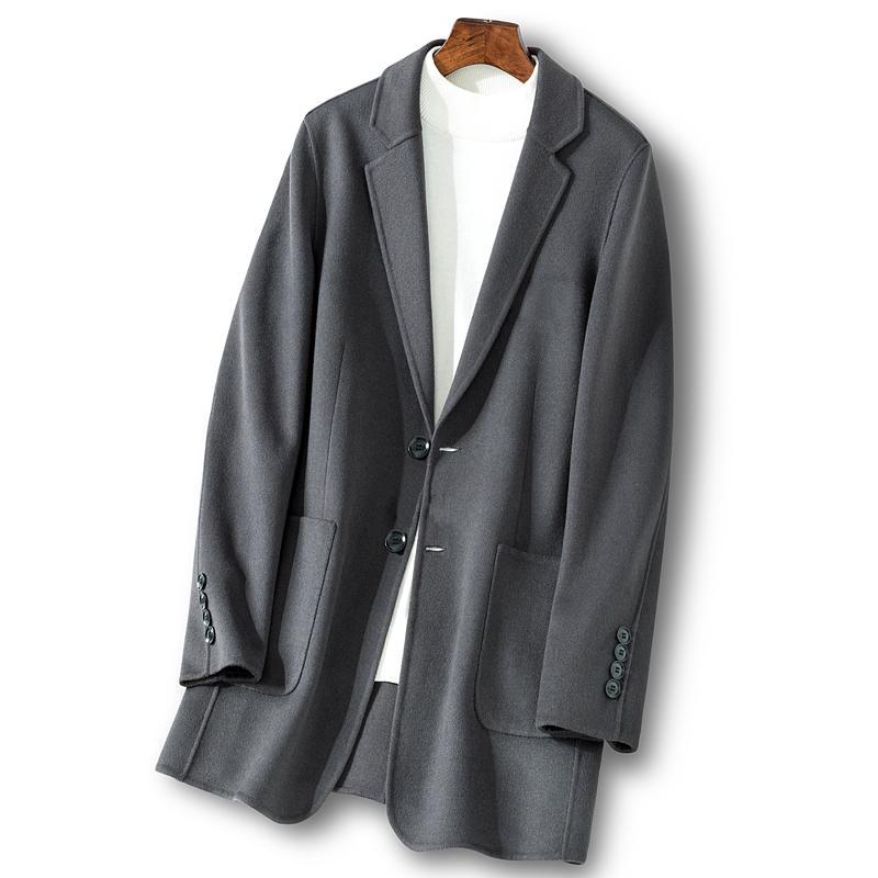 Uzun Yün Coat Erkekler İlkbahar Sonbahar Ceket 9815 KJ1921 Casual Manteau Homme Palto Erkek mont ve ceketler Çift taraflı