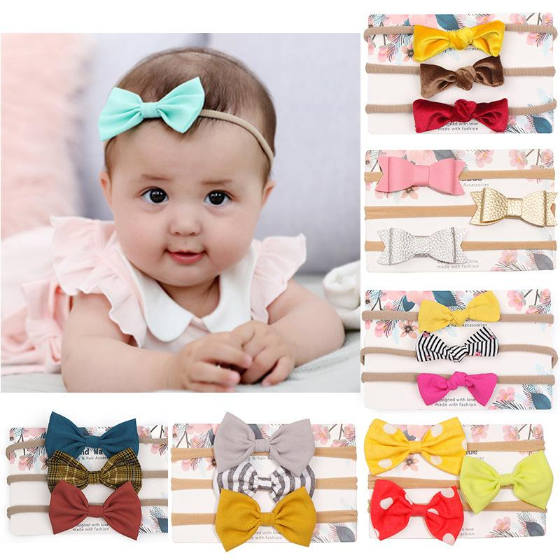 One Set 3 Pcs Baby Striped Dot Flower Hair Bow Headband Elastic Hair Bands Toddler Newborn Photographed Props Headwear Beautiful HuiLin BH56