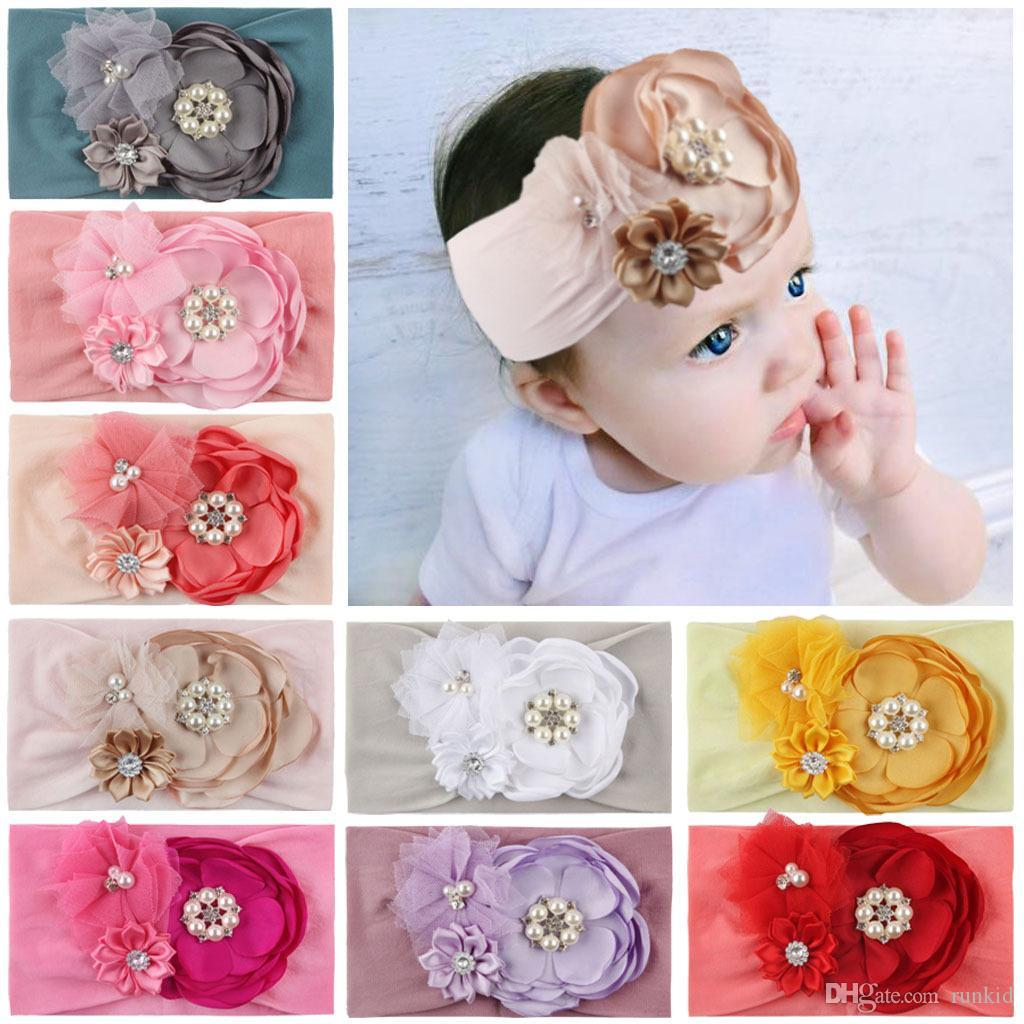 Elastic Girls Accessories Toddler Baby Headband Headwear Hair Band Flower Pearl