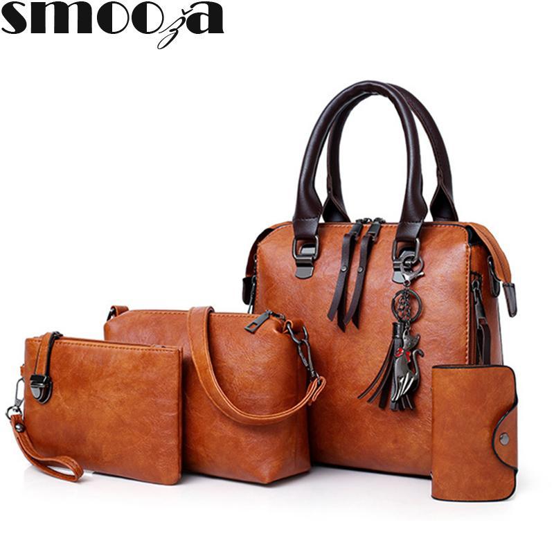 SMOOZA luxe Pu cuir femmes sac à main et sacs à main de marques célèbres Designer Sac Top-poignée épaule Femme Sac Composite MX191216