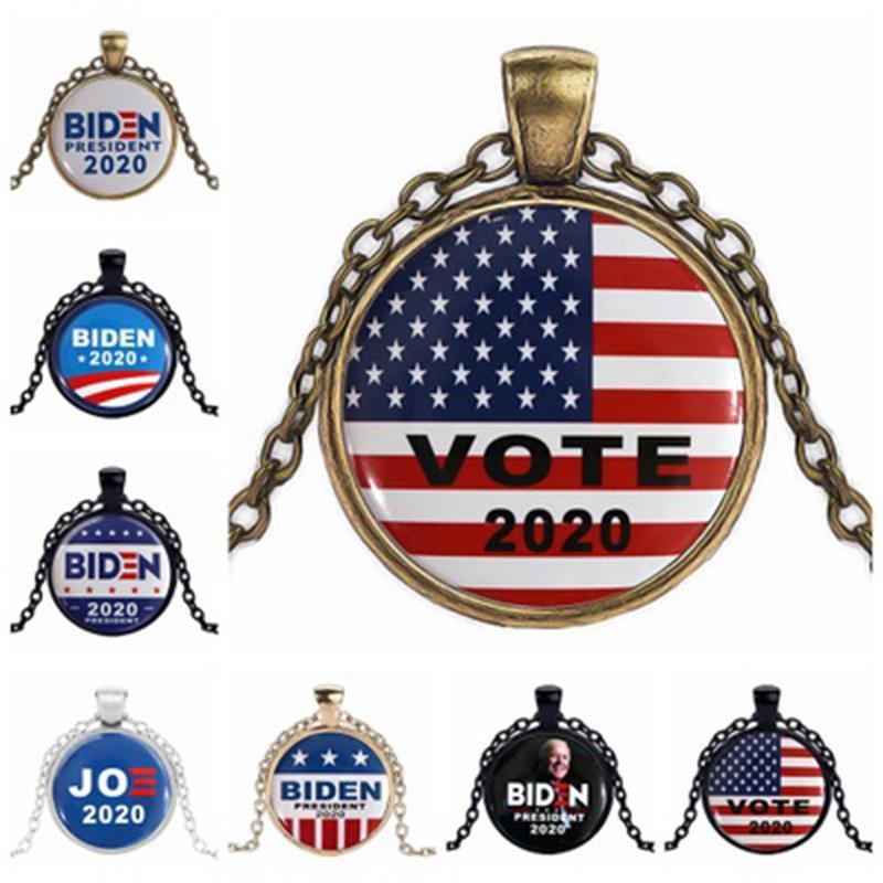 العلامة بايدن الأحجار الكريمة قلادة 2020 الرئيس الأمريكي دونالد ترامب الانتخابات جو بايدن حملة تصميم الأزياء هدية DDA77
