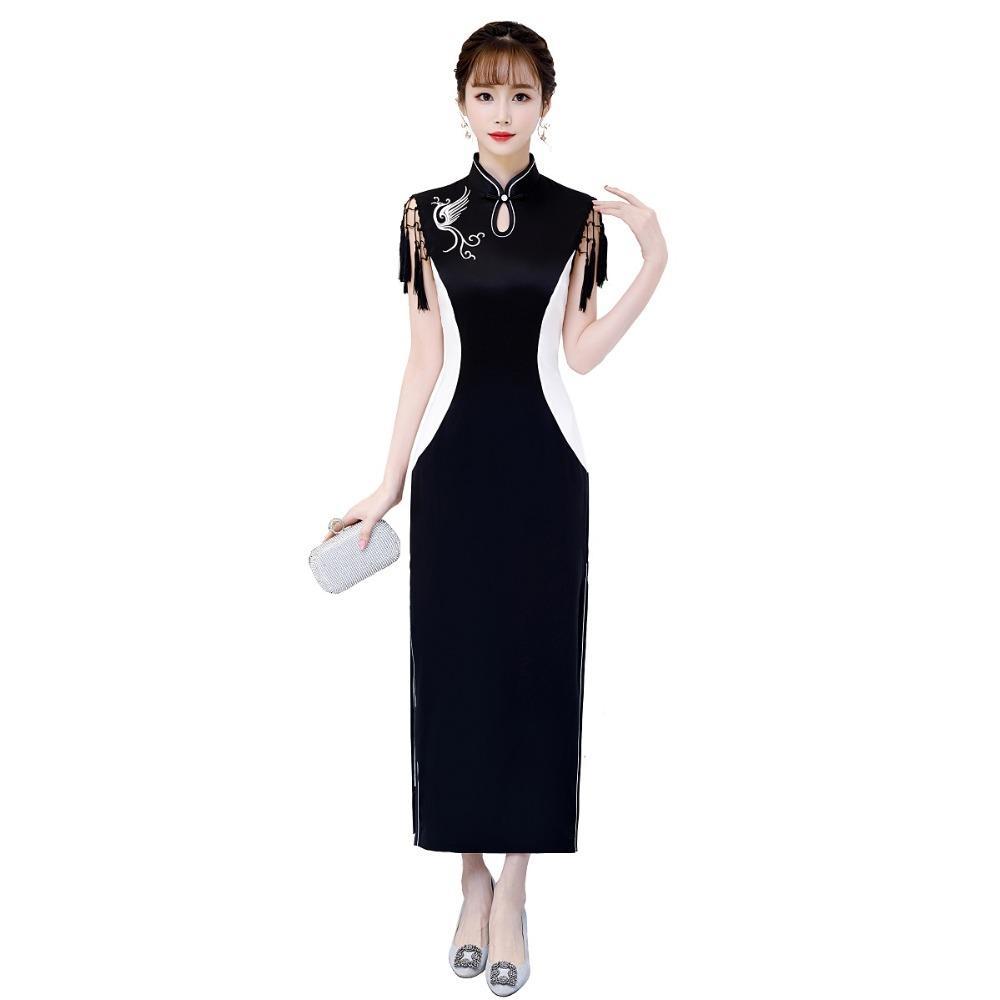상하이 이야기 가짜 실크 Qipao 중국어 번체 드레스 중국 여성 의류 긴 Cheongsam 라이닝 2 색