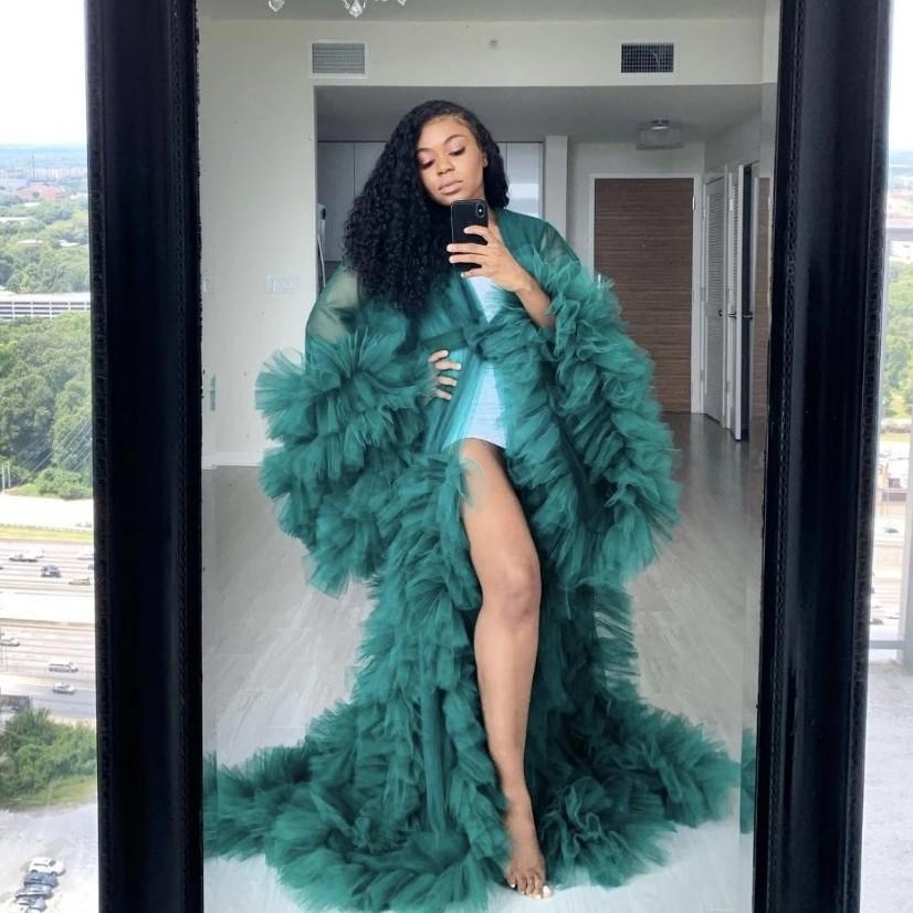 Sexy See Thru Abiti Kimono increspature della donna incinta di promenade di Tulle a file increspato dell'abito da sera Vestiti Puffy maniche africano del Capo Mantello