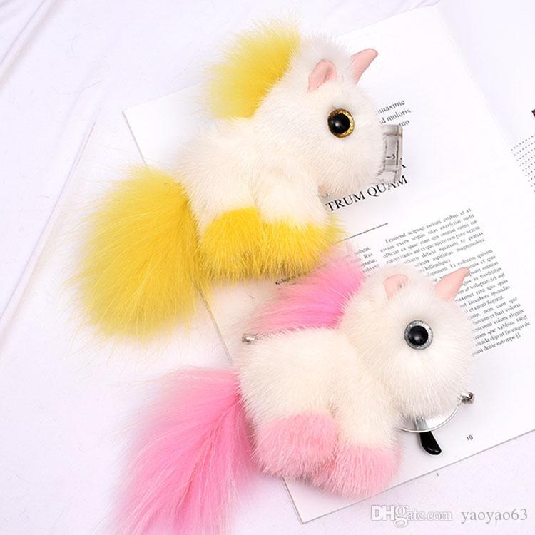Nuovo design di alta qualità ciondolo capelli unicorno visone cavallo portachiavi per il telefono o il tasto sacchetto dell'anello