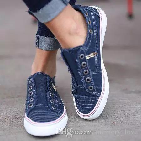 Flat Shoes Hot sale Stylish Mental decoration Slip-on Large Size Casual Shoes Denim Flat for womens New Arrival 6colors