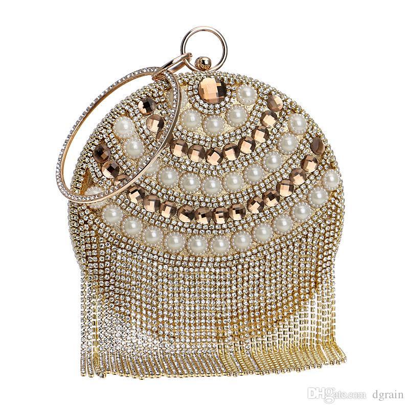 Dgrain Vintage Retro Gold-Abend-Beutel-Troddel-Diamant Kupplungen Frauen wulstige Kupplungs-Abend-Geldbeutel-Hand Hochzeit Braut Wristlet Taschen