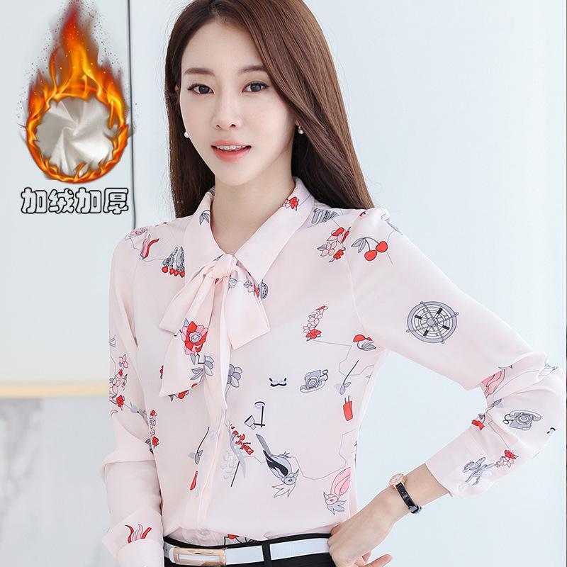 Мода зима плюс бархат лук шифон рубашки Женщины с длинными рукавами печатных Элегантные Вершины-Style Base Shirt