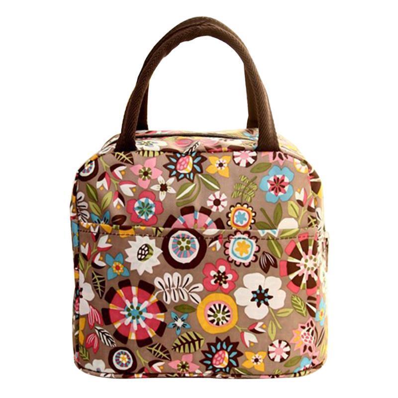 Piquenique Snacks Carry Tote Waterproof armazenamento portátil Bolsa Cooler Box Thicken viagem impressão térmica Lunch Duplas Bag