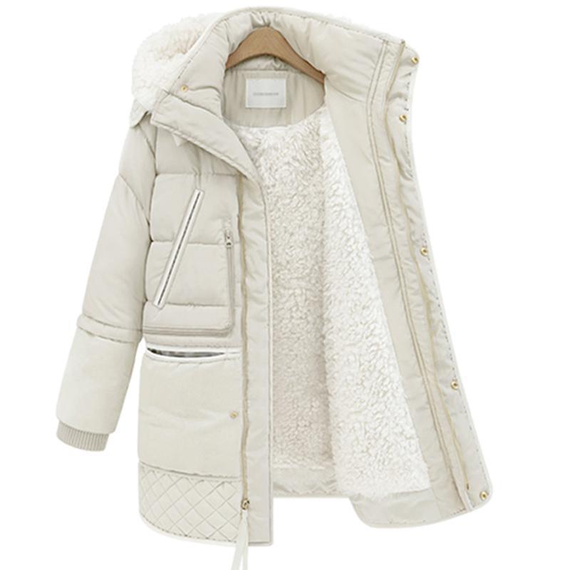 Brasão Mulheres Long Down Big Size Down Jacket White Lady Duck Jacket com capuz Coats Feminino Grosso Inverno Casacos LP407