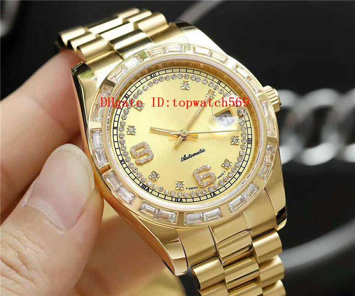 Алмазный Мужские часы Наручные часы Casual Часы швейцарские 3255 автоматические механические 28800 полуколебаний Дата Бар Алмазный диск 18k 904L сталь Сапфировое