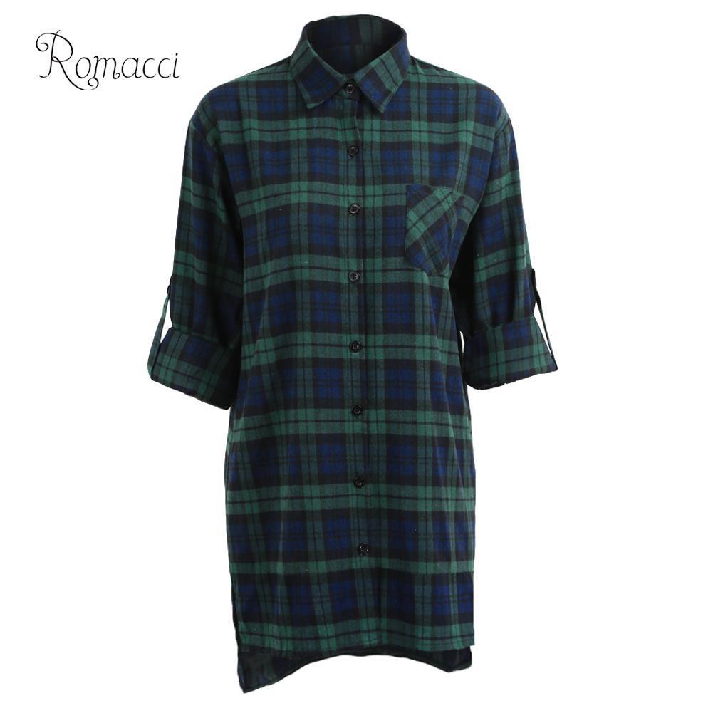 Romacci Baumwolle Frauen Plaid Bluse Shirt 2019 Lose Lässige Plaid Langarm Große Damen Tops Damen Blusen 5XL rot / grün