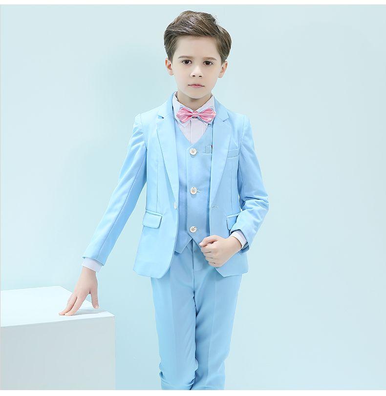 Handsome One Button Notch Risvolto Kid Completo Designer Handsome Boy Wedding Suit Abbigliamento per ragazzi Su misura (Jacket + Pants + Tie + Vest) A26