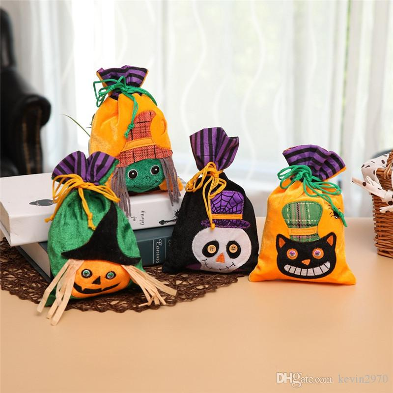 Black Cat Halloween Pumpkin Deluxe Printing Small Purse Portable Receiving Bag