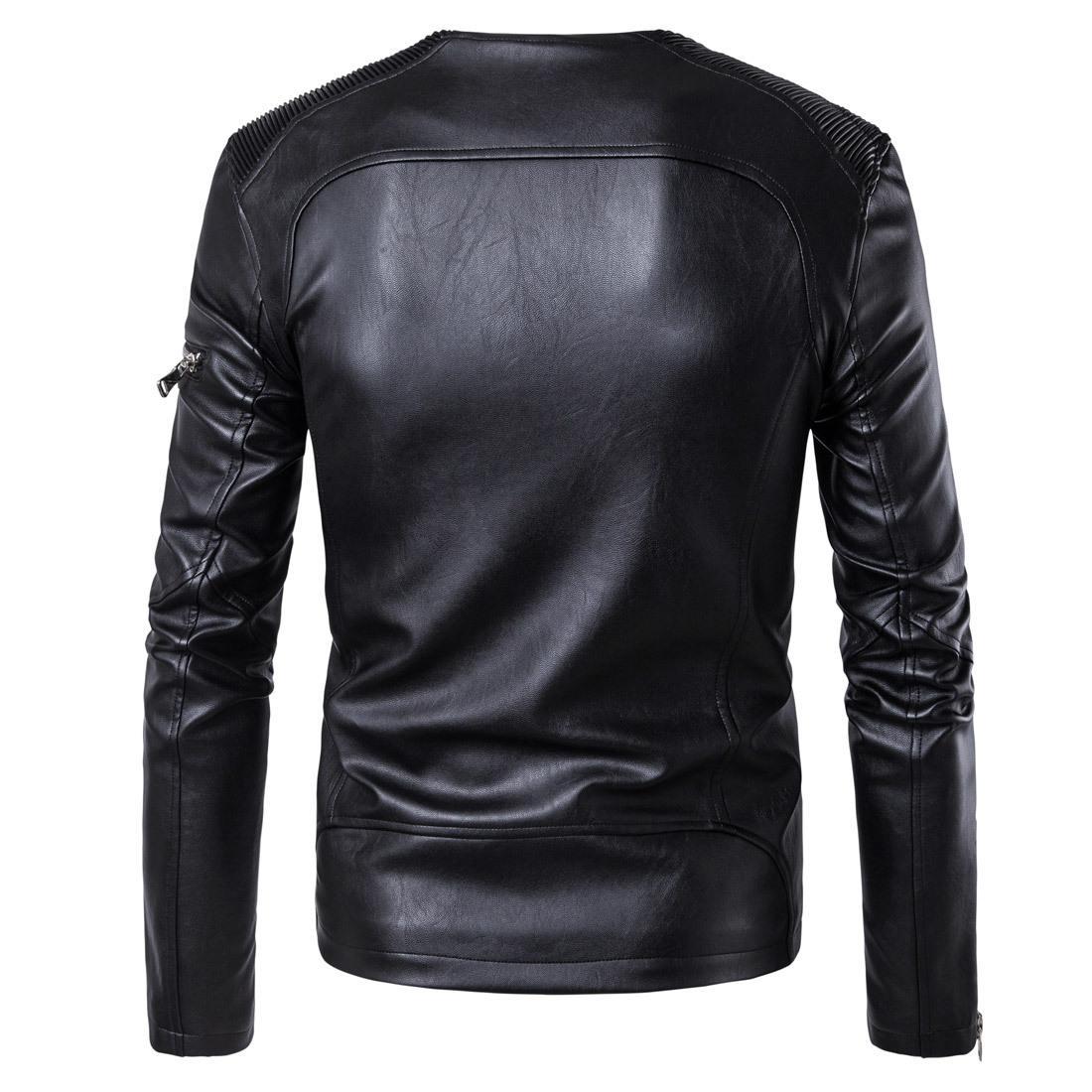 2019 Nouveau style haut de gamme Hommes Mode Casual da lan ji Veste en cuir voiture de grande taille Mode MASCULIN Manteau