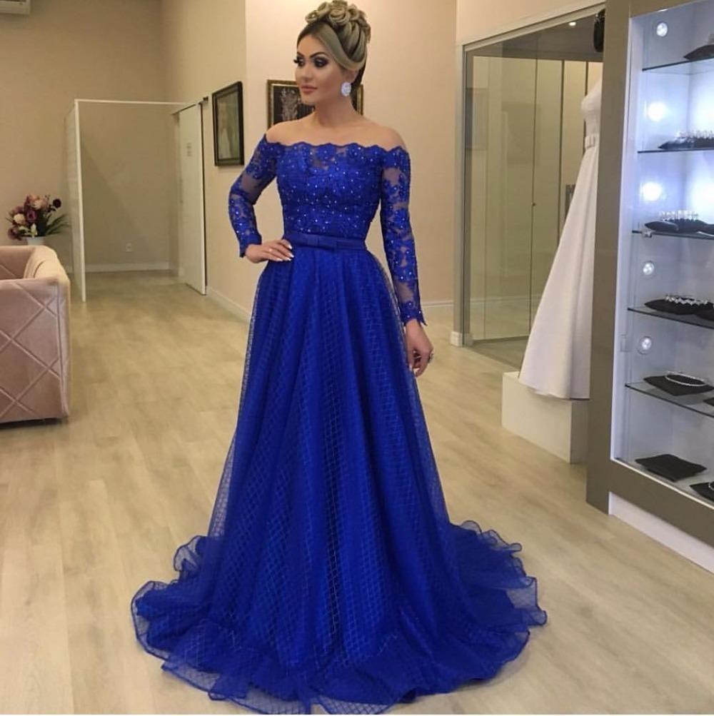 Royal bleu dentelle promenade robe de bal à manches longues Robes de soirée à manches longues 2020 Sexy Illusion Jewel Col Party Formel Femme Robe