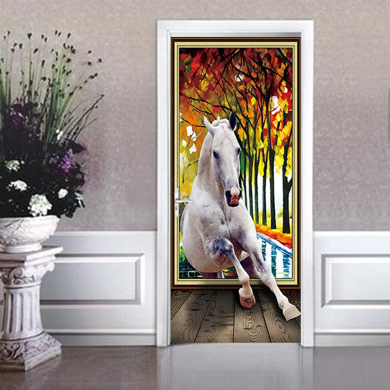 2pcs/set 3D DIY Door Art Mural Sticker White Horse Wall Stickers Home Decor Colorful Forest Self-adhesive PVC Wallpaper Poster