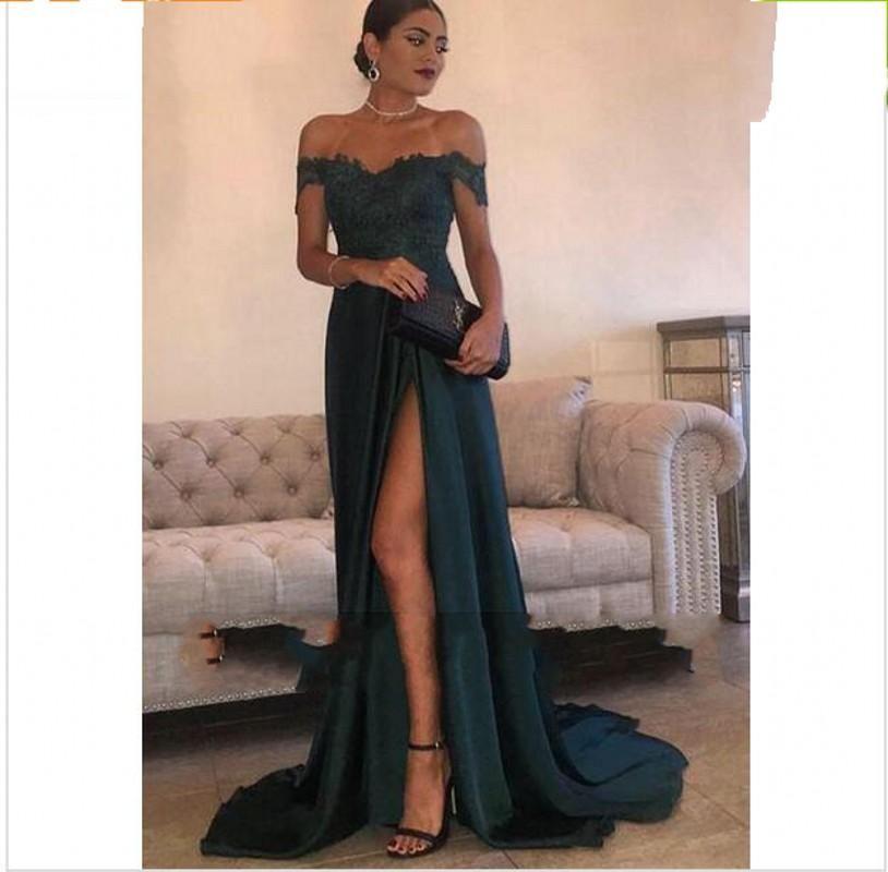 2019 Dark Green Sexy Prom Dresses A Line Chiffon Off-the-Shoulder Floor-Length High Side Split Lace Elegant Long Evening Dress Formal Dress
