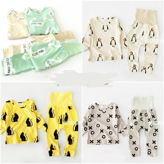 도매-15 컬러 BOBO CHOSES 아기 소년 의류 세트 여자 옷 아이 파자마 세트 vetement 앙팡 가콘 kikikids PENGUIN PANDA 그리스도