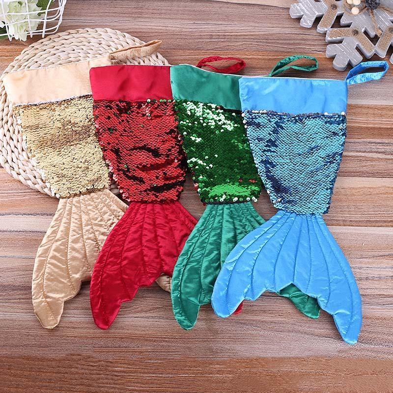 Süsler Yılbaşı Ev Partisi Dekorasyon 62767 Asma 1pcs Pullu Denizkızı Noel Şeker Hediye Çanta Noel Ağacı Kolye Dekor