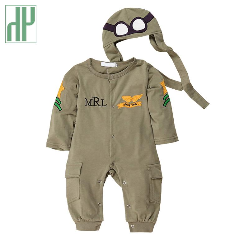 Fashionals Baby Rompers One-piece Pilot Baby Clothes New Born Boy Jumpsuit Funny Baby Girl Romper Hat Two Piece Outfits Costume Y19050602