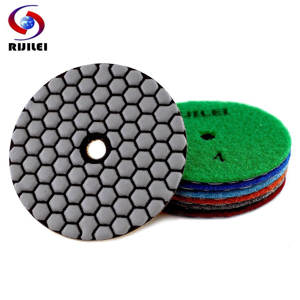 RIJILEI 6PCS 4inch asciugare tampone di lucidatura flessibile resina 100 millimetri diamante lucidatura pastiglie per la molatura Disco pavimento in marmo Concrete