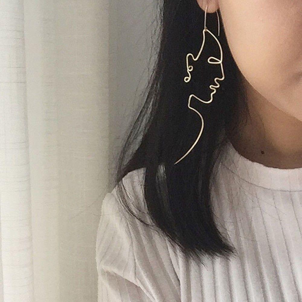 Уникальные Очаровательная Gold / Silver Заполненный Face мотаться проволочные серьги девушки Artsy Outline Длинные серьги для женщин Bijoux