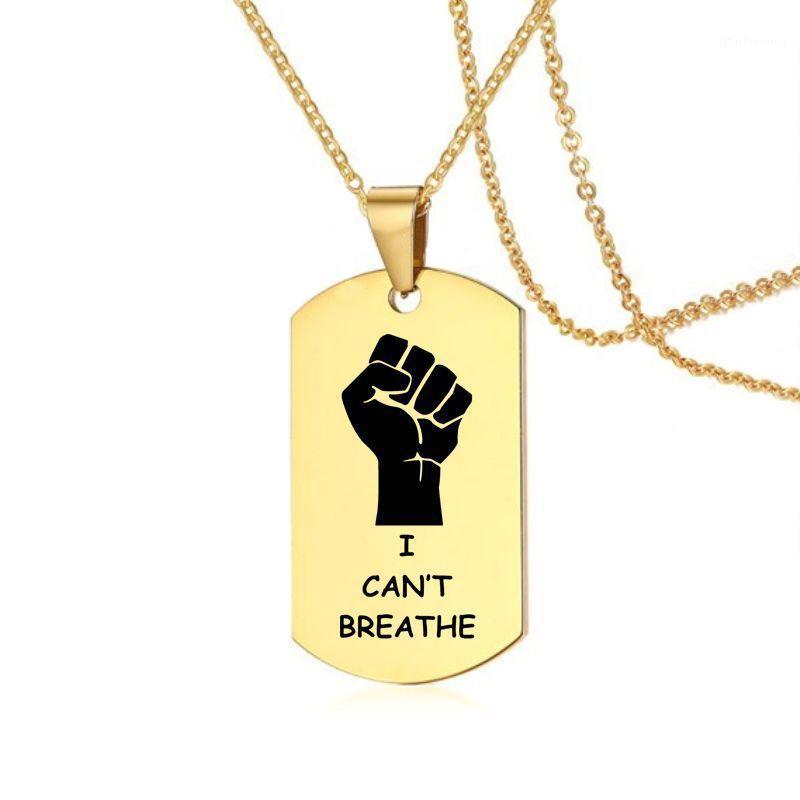 Kolye Kolye Ben Nefes alamıyorum amerikan Protesto Siyah Lives Madde Paslanmaz Çelik Rozeti Takı 60 cm1