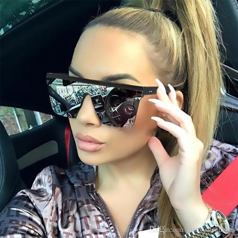 2019 neue übergroße sonnenbrille flach großer rahmen quadrat frauen vintage niet sonnenbrille weibliche uv400 top tops männer spiegel steigung uucri