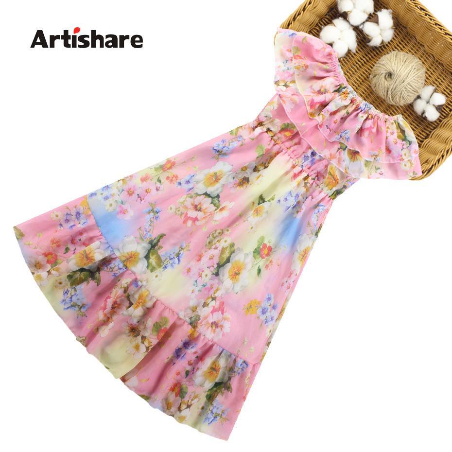 Filles d'été Motif floral Kids Party Dress style bohème robe pour fille Vêtements ados pour les filles 6 8 10 12 14 Année MX190724