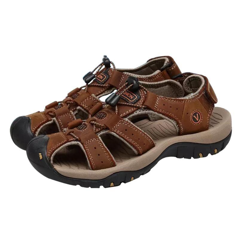 Sandalias para hombre de cuero de verano zapatos de hombre suave antideslizante cómodo de moda al aire libre tamaño grande 48