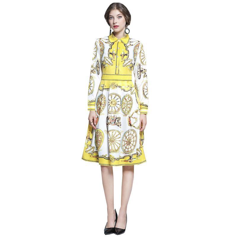 2.020 mulheres vestidos das mulheres novas roupas compridas Camisa Polo lapela fina Magro Impressão Saias camisola amarela Designer Vestido Plus Size S-XL