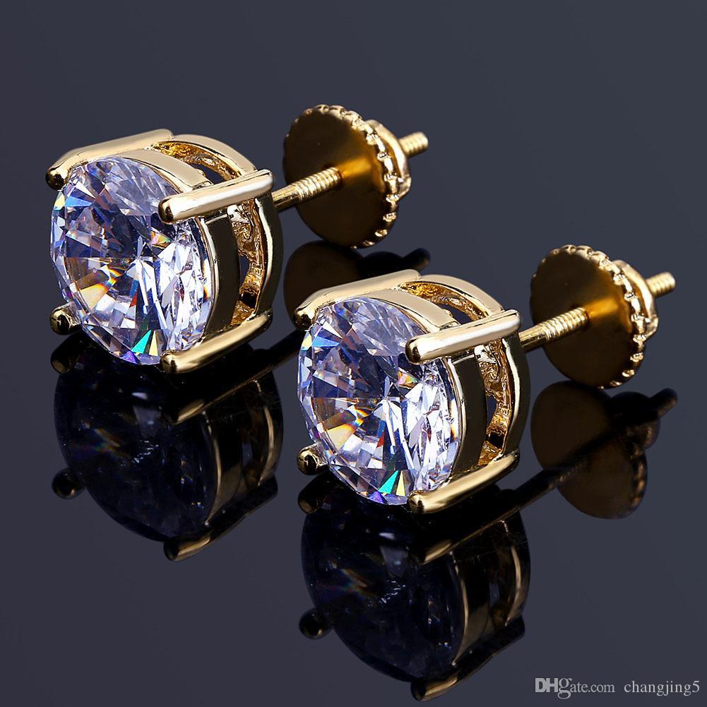 Pendientes de diamante simulado de plata para hombre de Hip Hop Pendientes de joyería de la alta calidad de la manera oro redondo para los hombres del envío rápido