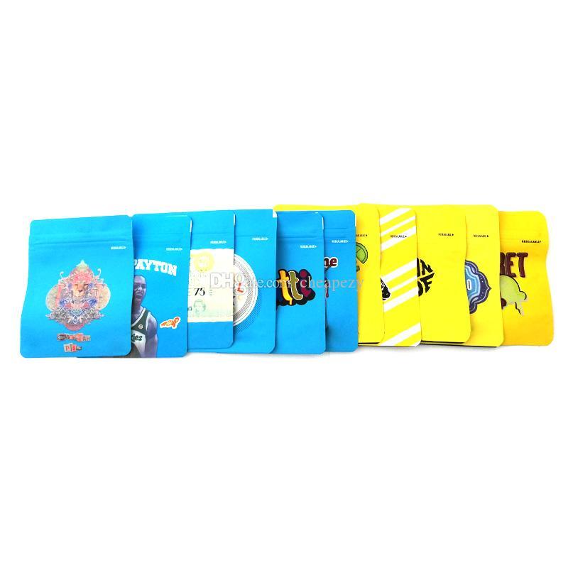 حقائب 20 أنواع فارغة كاليفورنيا SF 3.5G حقائب مايلر الأبيض Runtz MINNTZ لندن جنيه تاتش الجلد حقيبة التعبئة دي إتش إل الحرة