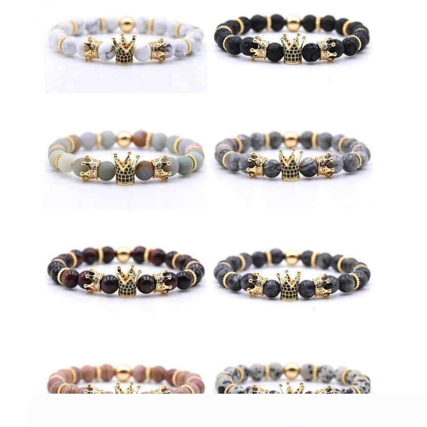Natürliches Vulkangestein Armband Anti-Ermüdungs-handgemachte wulstige Armband Intarsien Zirkon Kronen-Mode-Charme-Armband-Mehrfarben Unterstützung