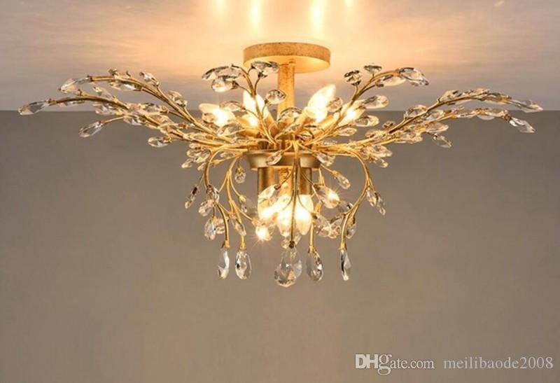 أضواء LED الثريا ضوء مصباح كريستال الحديد سقف 9 رؤساء أعلى / أسفل ضوء أسود / برونزية الثريات مصابيح ديكور المنزل قرية الأمريكية