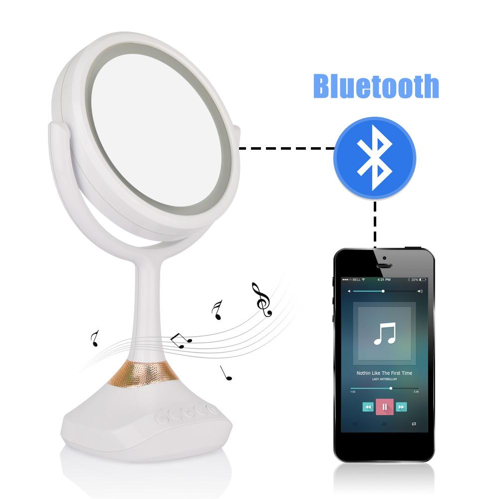Bluetooth Speaker Vanity Mirror Tabletop Makeup Cosmetic Mirrors 1x 5x  Magnification Double Side Mirror With Light Beauty Tools Lighted Makeup  Mirrors