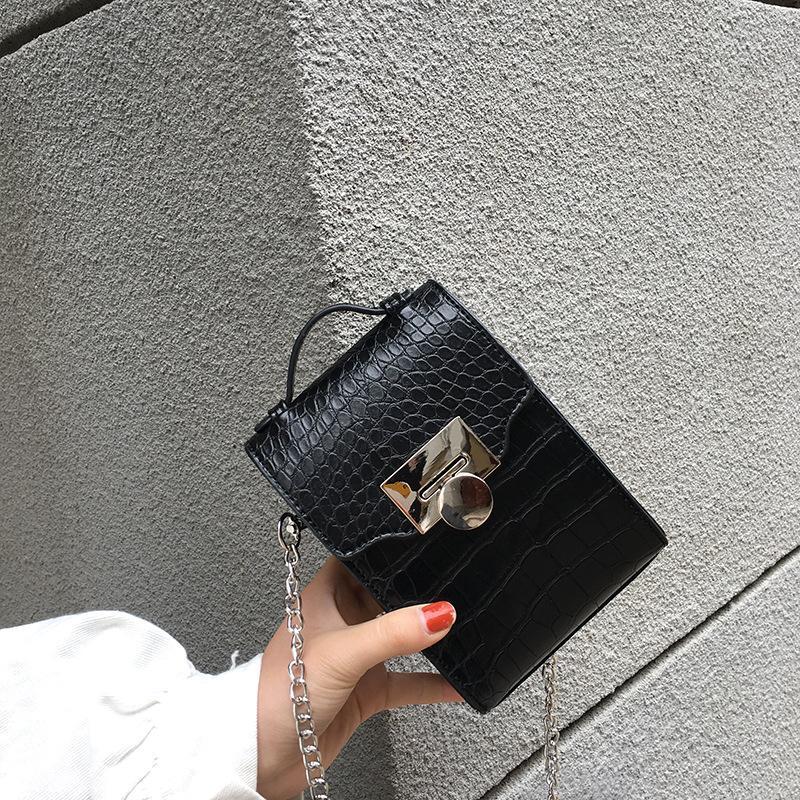 2020 le donne del sacchetto della scatola verticale piccola croce borse a tracolla corpo alligatore marrone borsa modello in pelle e borse delle donne mini borse