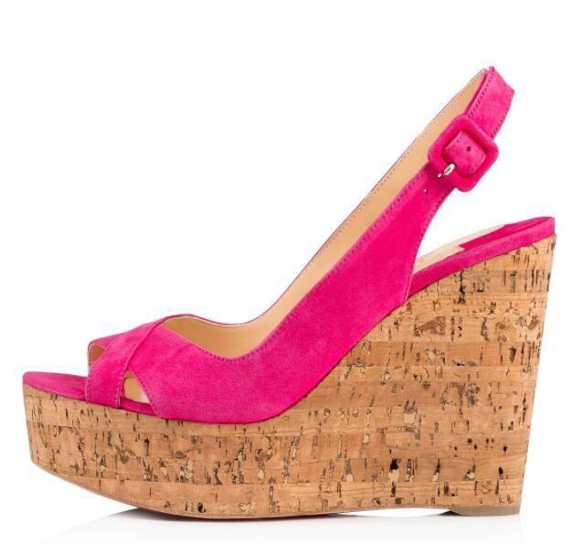 Famosa señoras atractivas de los altos talones rojos zapatos inferiores Para Reine De Liege sandalias de la plataforma mujeres de las cuñas de bombas de las mujeres vestido de novia Partido
