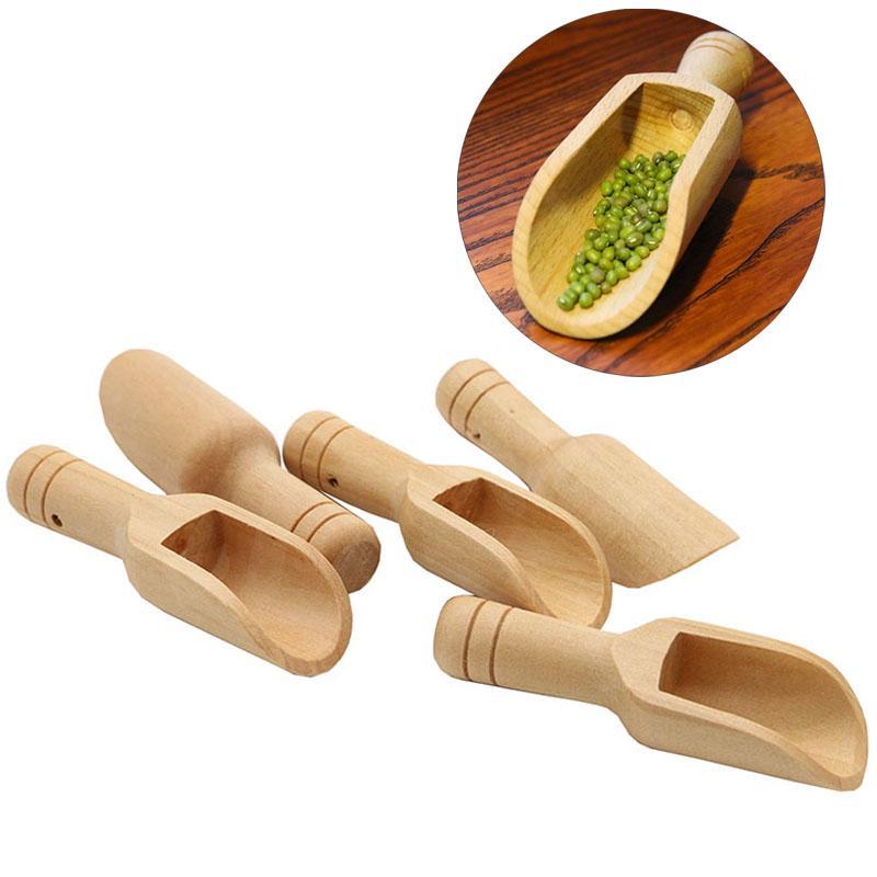 Mini-Holz-Scoops Badesalz Powder Waschpulver Löffel Süßigkeit Wäscherei Tee Kaffeelöffel Eco Friendly Holz Mini Scoops BH3241 TQQ